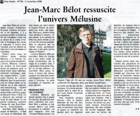 Oise Hebdo du 5.11.2008: Jean-Marc Bélot ressuscite l'Univers Mélusine